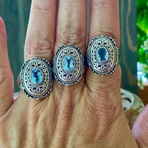 Jewelry - NEW 925 Sterling Silver Bali & Blue Topaz Ring